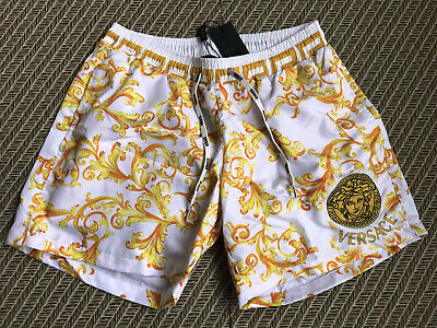 New  Versace Swimshorts White Men's Italy Print Borocco Swim Briefs Drawstring
