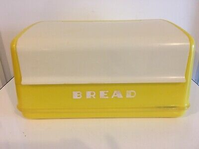 Vintage LUSTRO-WARE Bread Box Yellow With White Hinged Lift-Top