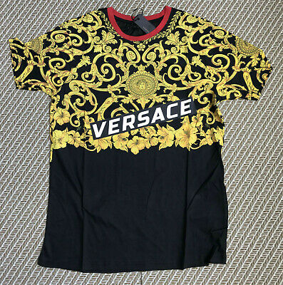3701d5ac NEW VERSACE Myth T-Shirt Gold Men's Italy Print Short Sleeve Cotton Striped