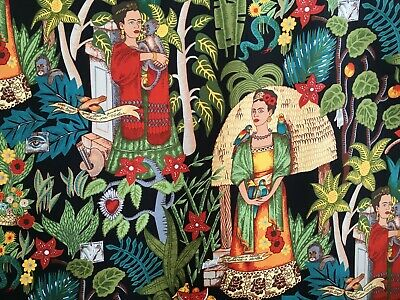 Frida's Garden fabric, heavyweight, Alexander Henry, canvas black, Frida Kahlo