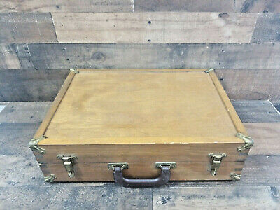 Vintage Large Wood Artist/Drafting/Camera Box Dovetail Corners Brass Accents