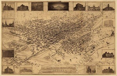 Denver Colorado panorama c1881 map 18x12
