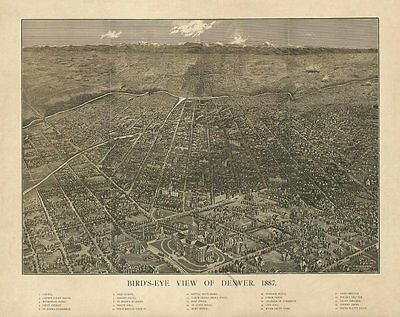 Denver Colorado panorama c1887 map 20x16