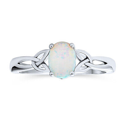Triquetra Celtic Knot Oval White Created Opal Ring Sterling Silver