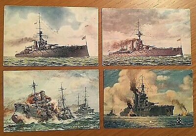 "N°4  Cartoline Navi da guerra Royal Navy ""Tuck's Post Card""  anni 30 Originali"