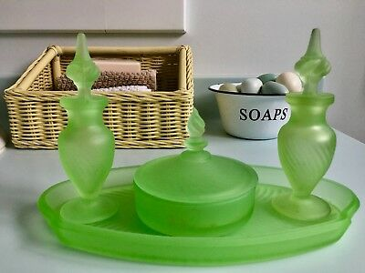 Vanity Set * Tray * Covered Powder Dish * Two Perfume Bottles * Green Glass 1920