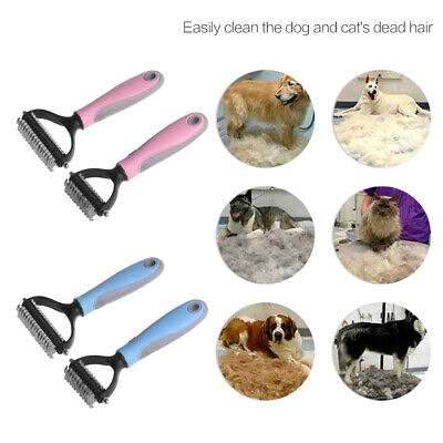 Double-sided  Dog Groomer Hair Removal Comb  Cat Rake Brush Fur Knot Cutter