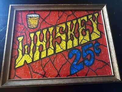Rare Antique wooden frame of Whiskey 25 cents.