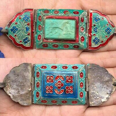 Excellent Rare Bukhara Samarqand Pure Silver Turqouise Enamel Old Braclet #Sae01