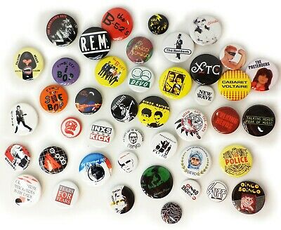 1980s NEW WAVE Music Band Buttons Pins Badges 40+ DESIGNS Mix & Match Gifts