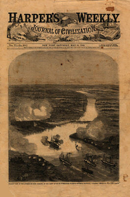 View of the attack on Fort Darling in the James River Virginia c1862 map 12x18