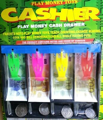 Childrens Euro Play Money In Cash Drawer Kids Roleplay Pretend Toy €