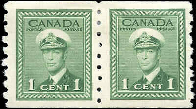 1948 Mint Canada Scott #278 Pair 1c Coil War Issue Stamps Hinged