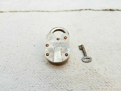 1950s Vintage 10 Levers Vulcan Bright Copper Fitted Brass Padlock-Original Key
