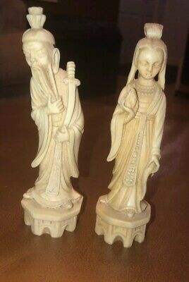 CHINESE 19TH C.CENTURY IMMORTALS / ELDERS  FIGURINES STATUES Man Lady SIGNED