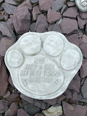 Dog Memorial Stone Paw Print Plaque Pet Headstone Grave Not Just A Dog Miss You