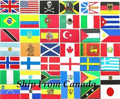 """High Quality Country Flag emblem Embroidered Iron On Patch 1.6""""X2.35"""" Arm Badge"""