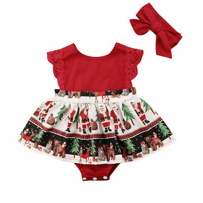 AU 2PCS Newborn Baby Girl Xmas Clothes Romper Bodysuit Dress Jumpsuit Outfits