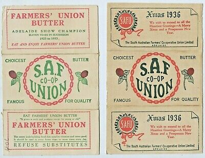 1936 2 Card Butter Wrappers Farmers Union Xmas Royal Adelaide Show 1925 1935 D65