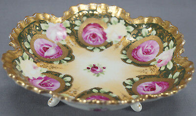 Hand Painted Shimamura Nippon Era Pink Rose & Gold Moriage Gilt Footed Bowl