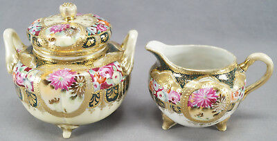 Nippon Hand Painted Roses Flowers Forest Green & Gold Moriage Creamer & Sugar