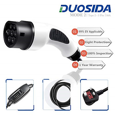 DUOSIDA Portable EV Charger Type 2 uk 3 pin 16a Electric Vehicle Charging