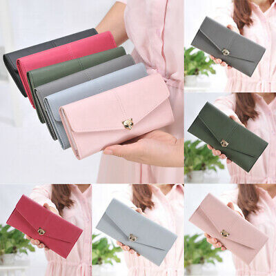 Women Leather Clutch Wallet Fashion Trifold Long Wallet Ladies Card Holder USA