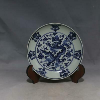 One Nice Chinese Ming Blue White Porcelain Dragon Plate