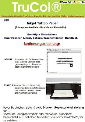 Tattoo + Kerzen Folie Body Style Inkjet Laser Copy klar/transparent Silber Gold