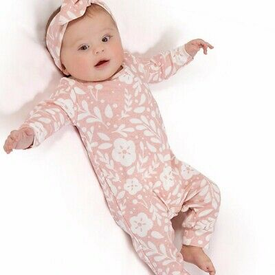 Newborn Infant Kid Girl Flower Print Outfit Clothes Romper Jumpsuit+Headband Set