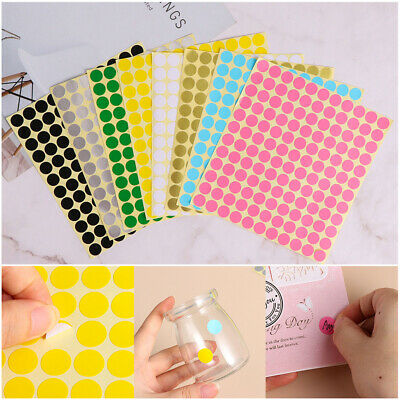 5 Sheets Coloured Dot Stickers Round Sticky Adhesive Spot Circles Paper Labels