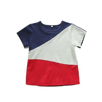 Summer Baby Boy Short Sleeve T-Shirts Child Mixed Color Design Tops Tees Blouse