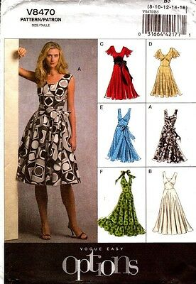 Vogue Sewing Pattern V8470 8470 Ladies Dress Easy Options Vogue 8-16 or 18-24