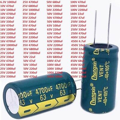 10V-450V High Frequency LOW ESR Radial Electrolytic Capacitor 10uF-10000uF LCD