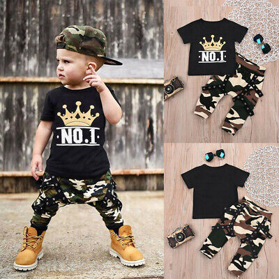 Toddler Infant Baby Boy Letter T shirt Tops+Camouflage Shorts Outfit Clothes Set