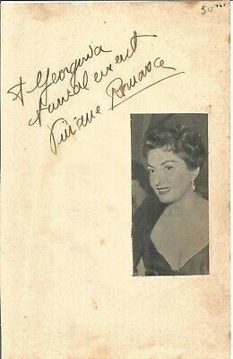 Viviane Romance signed dedicated piece approx 8 x 5 inches, actress E1438