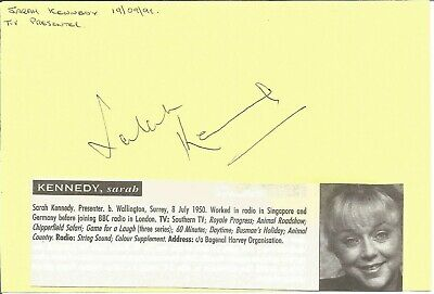 Sarah Kennedy MBE signed piece approx 6 x 4 inches , t.v presenter E1381