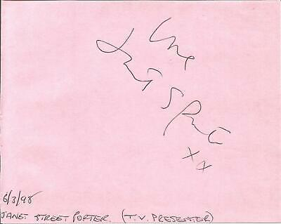 Janet Street Porter CBE signed piece approx 5 x 4 inches,  journalist E1379