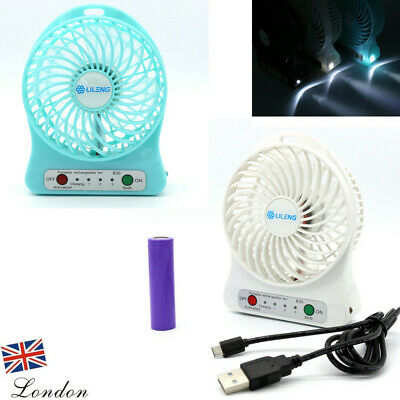 Mini Portable USB Rechargeable Fan Cooling Handheld 3 Speed LED Light+18650