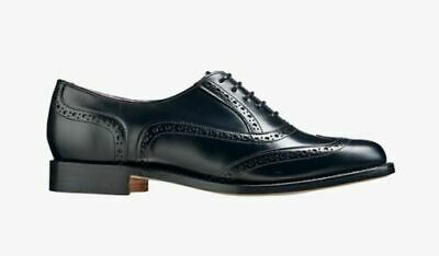 Bespoke Handmade Women's Genuine Black Leather Oxford Brogue Lace Up Formal Shoe