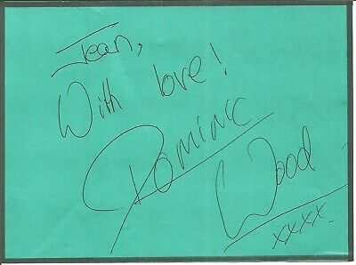 Dominic Wood signed dedicated piece approx 5 x 4 inches, t.v presenter E1365