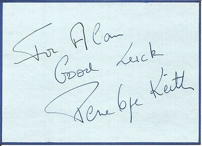 Dame Penelope Keith signed dedicated card approx 6 x 5 inches, actress  E1357