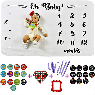 Baby Milestone Blanket Set Including 28 Newborn Photography Props for Boys Girls