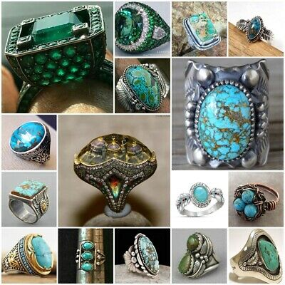 Handmade Vintage 925 Silver Turquoise Band Ring Women Wedding Jewelry Size 6-10