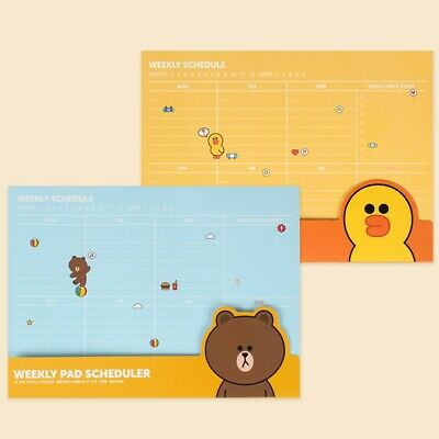 [Line Friends] Weekly Pad Scheduler Note Memo Schedule Check List Daily Planner