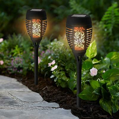 2 x Black Solar Dancing Flame LED Torch Stake Flickering Outdoor Garden Lights