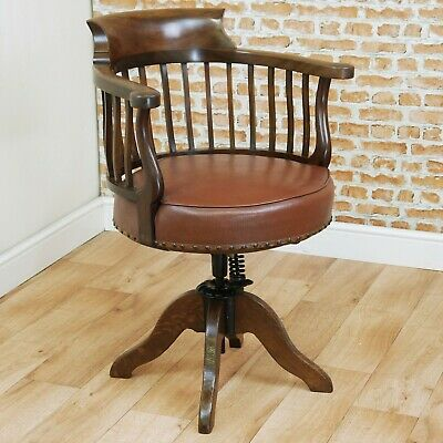 Antique Original Edwardian Mahogany Revolving Smokers Bow Office Desk Arm Chair