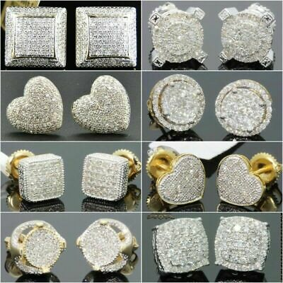 18K Gold Square Cube AAA zircon Stud Earrings for Men Women Wedding Jewelry Gift