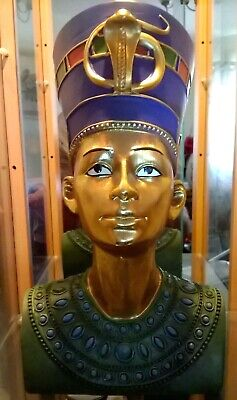 Ancient Egyptian King Tut Bust Gold Queen Nefertiti Sculpture Statue Figurine