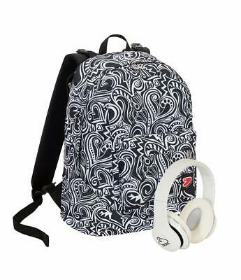 Zaino SEVEN THE DOUBLE MAZE GIRL Reversibile Bianco e Nero Cuffie wireless